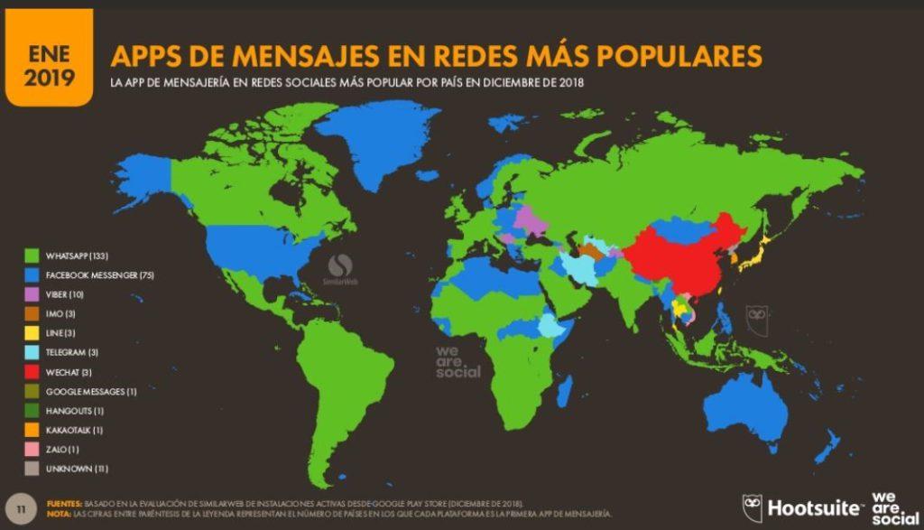 Mapa que refleja las Apps de mensajería más populares en el mundo